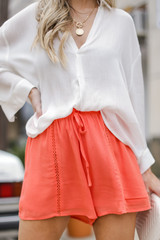 Coral - Dress Up model wearing Linen Shorts