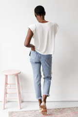 Shoulder Pad Muscle Tee in White Back View