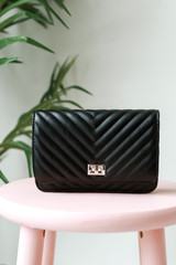 Quilted Crossbody Bag in Black Front View