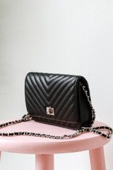 Quilted Crossbody Bag in Black Side View