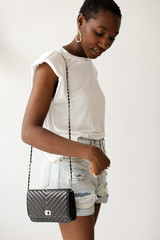 Black - Quilted Crossbody Bag