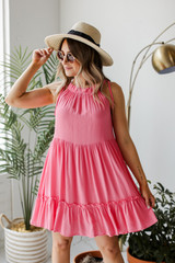 Pink Swing Dress Front View