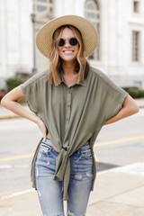 Olive - Dress Up model wearing a Button Up Top