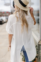 Button Up Top in White Back View