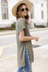Button Up Top in Olive Side View