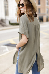 Button Up Top in Olive Back View
