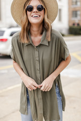 Button Up Top in Olive Front View