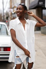 Button Up Top in white Front View un-buttoned