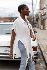 Button Up Top in White Side View