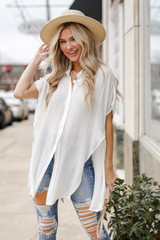 White - Button Up Top