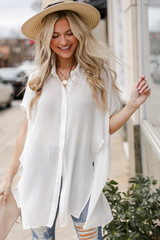 White - Button Up Top from Dress Up