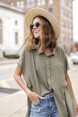 Olive - Model wearing a Button Up Top