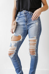 Medium Wash - High Waist Distressed Jeans from Dress Up