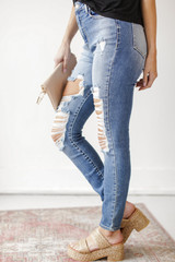 High Waist Distressed Jeans Side View