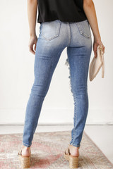 High Waist Distressed Jeans Back View