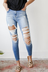 High Waist Distressed Jeans Front View on model
