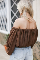 Balloon Sleeve Top in Brown Back View