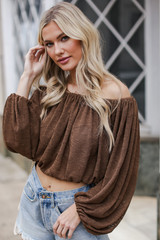 Balloon Sleeve Top in Brown Front View