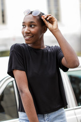 Dress Up model wearing a black Short Sleeve Tee