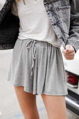 Heather Grey - Dress Up model wearing Jersey Knit Shorts