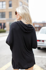 Jersey Knit Hoodie in Black Back View