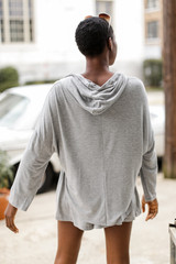 Jersey Knit Hoodie in Heather Grey Back View