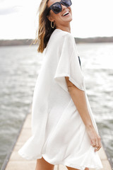 Waffle Kimono in Ivory Side View