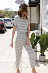 Dress Up model wearing a Striped Jumpsuit Side View