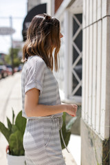 Striped Jumpsuit Side View