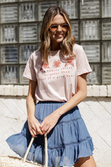 Dress Up model wearing the Good Heart Floral Graphic Tee