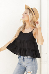 Babydoll Tank in Black Side View
