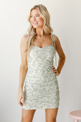 Ruched Floral Mini Dress Front View