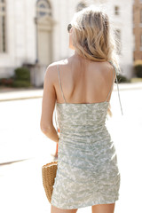 Ruched Floral Mini Dress Back View