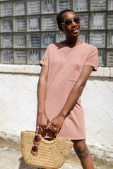 Peach - Vintage Washed T-Shirt Dress