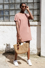Peach - Vintage Washed T-Shirt Dress from Dress Up