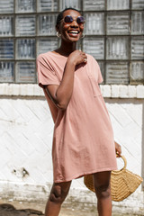 Model wearing a Vintage Washed T-Shirt Dress