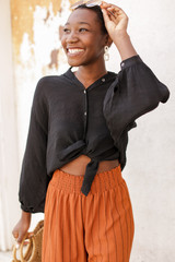 Black - Linen Button Up Top