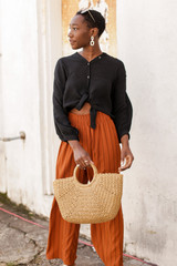 Black - Linen Button Up Top from Dress Up