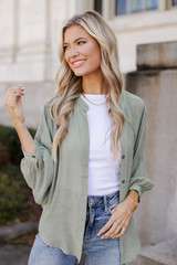 Olive - Model wearing a Linen Button Up Top