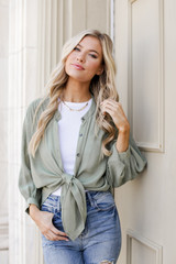 Olive - Dress Up model wearing a Linen Button Up Top