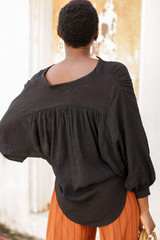 Linen Button Up Top in Black Back View