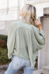 Linen Button Up Top in Olive Back View