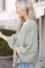 Linen Button Up Top in Olive Side View