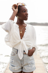 Linen Button Up Top in White Front View