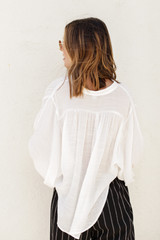 Linen Button Up Top in White Back View
