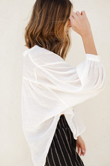 Linen Button Up Top in White Side View