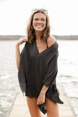 Charcoal - Oversized Tunic Front View