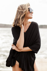 Oversized Tunic in Black Front View on model