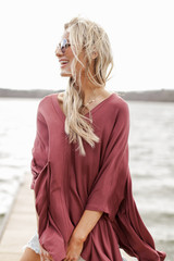 Oversized Tunic in Marsala Side View