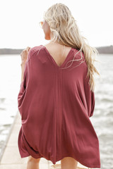 Oversized Tunic in Marsala Back View